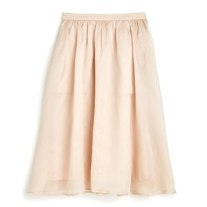 J.CREW 100% Silk Organza Puff Midi Skirt In Nude